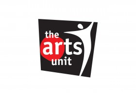 The Arts Unit Logo. Red, black and white.